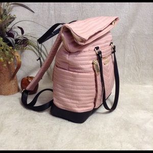 Convertible Nylon Shoulder Bag and Backpack Pink